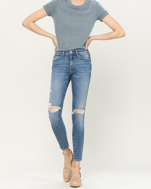 High Rise Distressed Skinnies