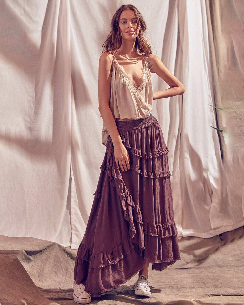 Violet Layered Maxi Skirt