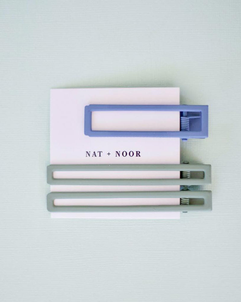 Nat + Noor Double Geometry Barrette Set Nat + Noor Sage/Sky