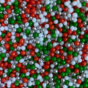 Edible decorations:  2mm Polished Pearls - CHRISTMAS TWINKLE