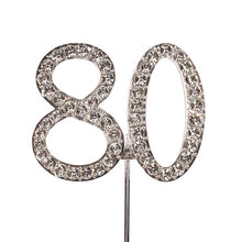 Load image into Gallery viewer, Cake topper: Diamante  - Numbers - Silver Stem