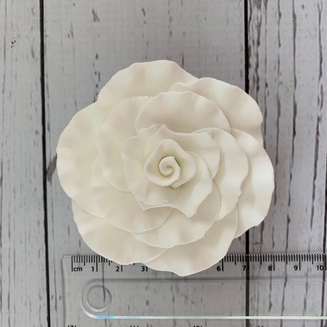 Pre-made Flowers - Sugarpaste  Rose - 8cm  White