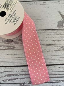 Ribbon -Pink with white dots