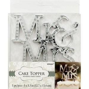 Cake Topper - Mr & Mrs - Silver Rhinestone