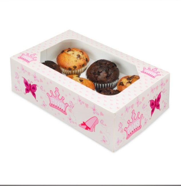 Cupcake Boxes - Childrens 6 hole - Princess