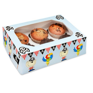 Cupcake Boxes - Childrens 6 hole - Pirates