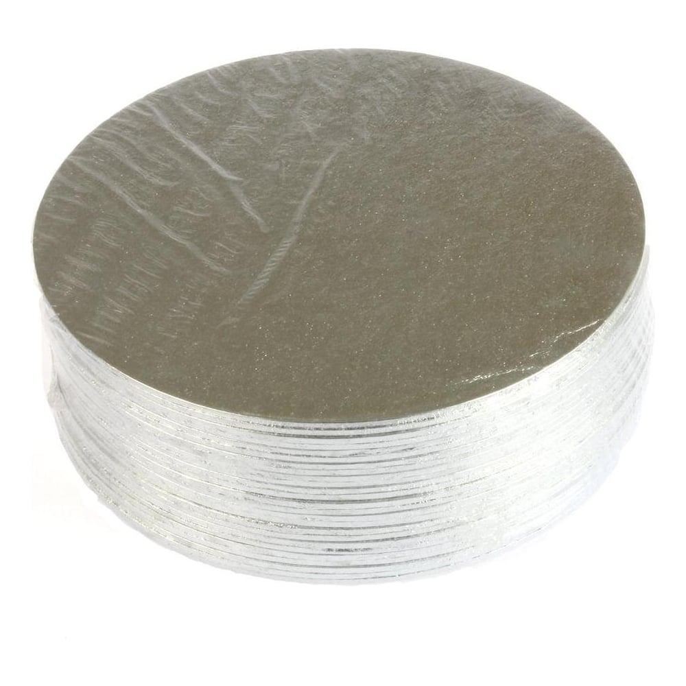 Cake Card - Double thick: Round silver turned edge cake card (3mm  Thick) various sizes