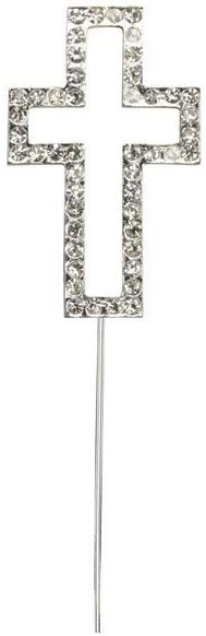 Cake Topper: Large Double Diamante Cross - 341