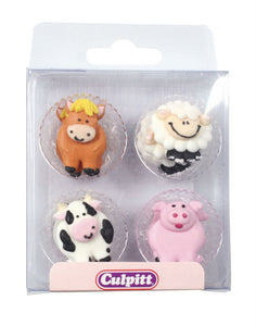 Edible Decoration - Farm Animal Cupcake Toppers