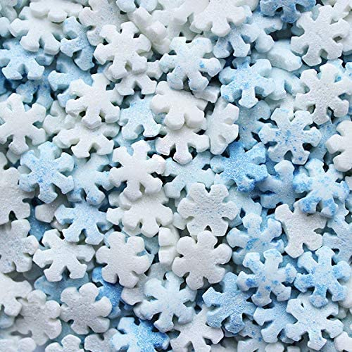 Edible Decorations - Mini Snowflakes Blue and White