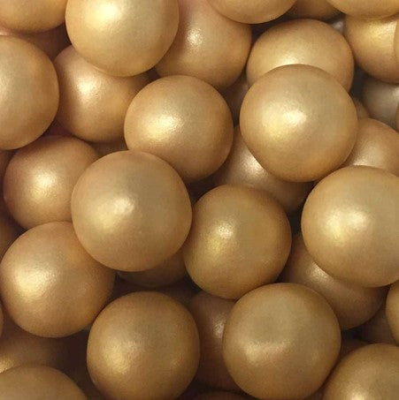 Edible decorations:  Chocoballs Large 10mm Glimmer Gold