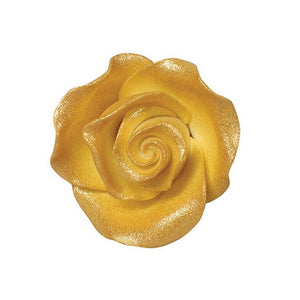 Pre-made Flowers - Sugarpaste Soft Lustre Gold  Rose - Small
