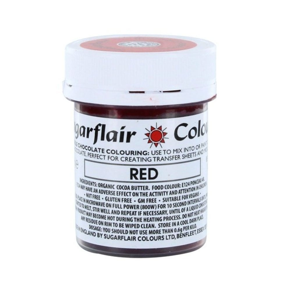 Colouring -Sugarflair Chocolate Colouring paste - Red 35g