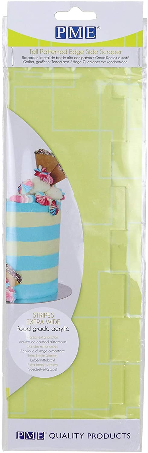Tools - Scraper Acrylic Tall Patterned Edge  - Extra Wide Stripes