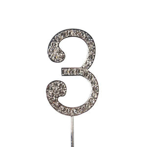 Cake topper: Diamante  - Numbers - Silver Stem