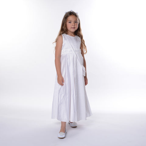 Pretty Originals White Silk Communion Dress with Bag 8 years only