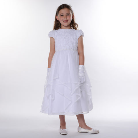 Phoebe Communion Dress in white 9942 by Sarah Louise
