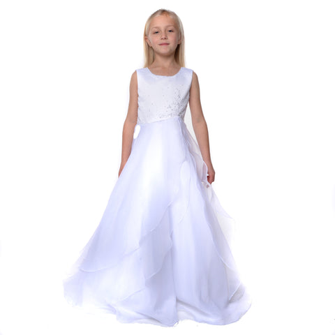 Kylie Pearl Detail Communion Dress with Organza Skirt