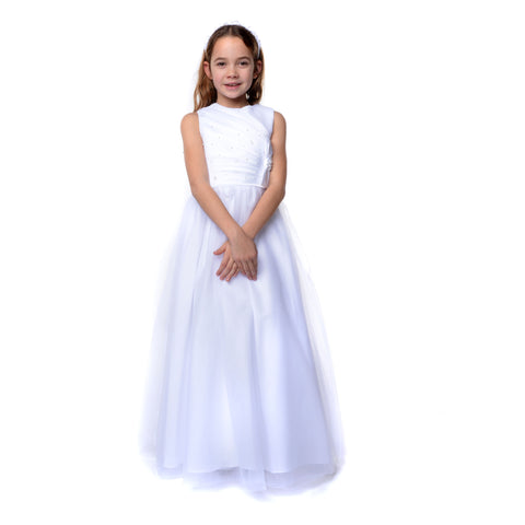 Taylor Communion Dress with Bow & Soft Tulle Skirt