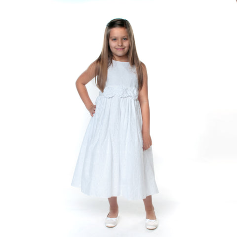 Autumn White Broderie Anglais Cotton Communion Dress