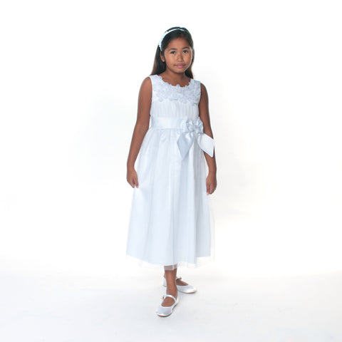 Robyn Communion Dress with Organza Flowers by Bonnie Jean