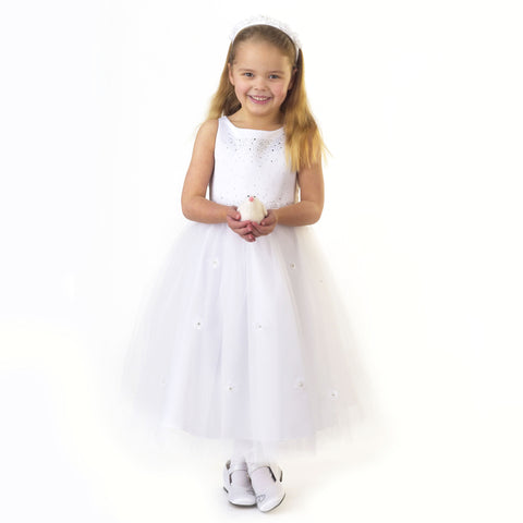 White Princess Communion Dress with Silver Sparkles