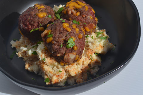Bacon Cheeseburger Meatballs w/ Boardwalk Mashed Cauli