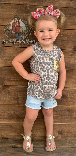 CHEETAH PRINTED TANK TOP W/ SEQUIN POCKET