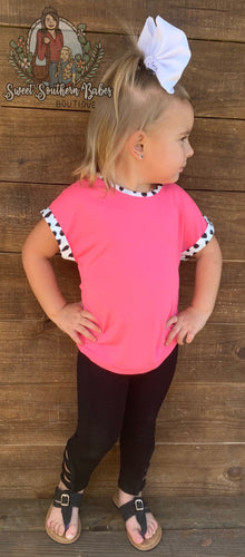 Girls Standout Style Neon Pink Top w/ Dalmatian Print Accent
