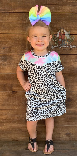 It Takes Two Dalmatian Print T-Shirt Dress w/ Pockets & Tie-Dye Accent