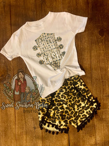 Leopard Shorts- Black Fringe