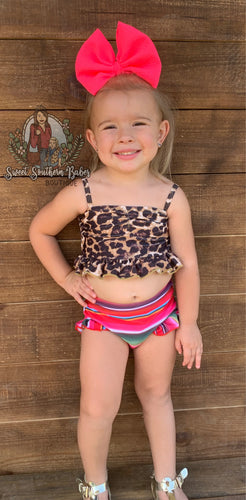 Leopard Serape Girls Swim Suit