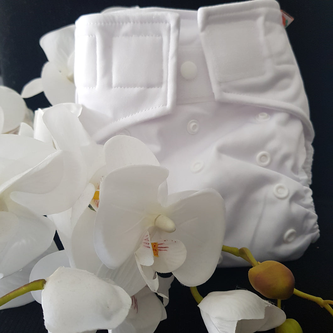 Modern Cloth Nappy- It'll be all-white- Velcro