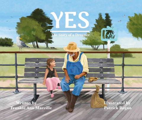 """The cover of Frankie Ann's book """"Yes"""", which was illustrated by Patrick Regan. The cover shows a young girl in a ballerina outfit sitting next to a gardener. They are sitting on a bench with trees and grass behind them."""