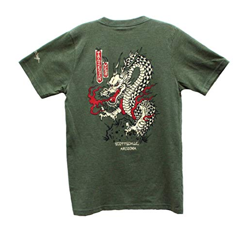 Image shows green T-shirt with dragon design on back, which has red, black, and off-white accents.