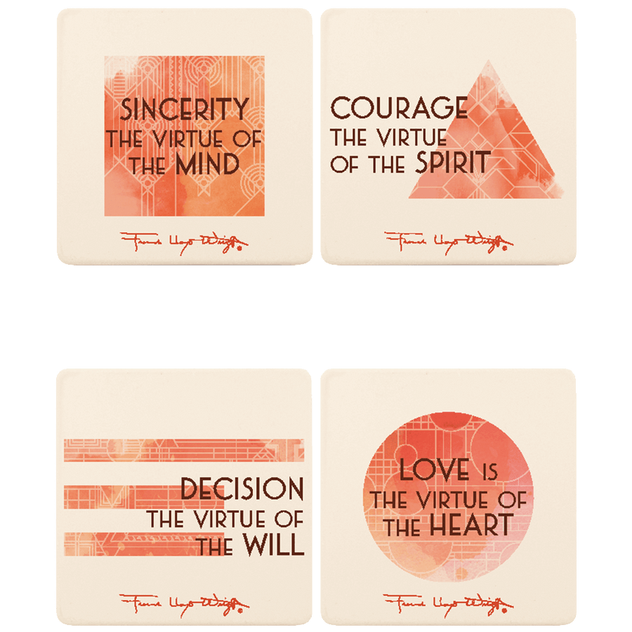 Four Organic Truths Square Coasters, Set of 4