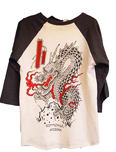 Image shows back of shirt with dragon.