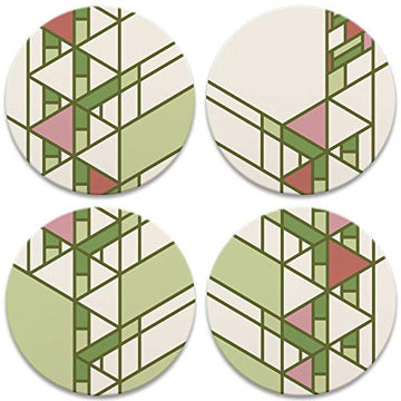 Hollyhock House Details Coasters, tops of four in set