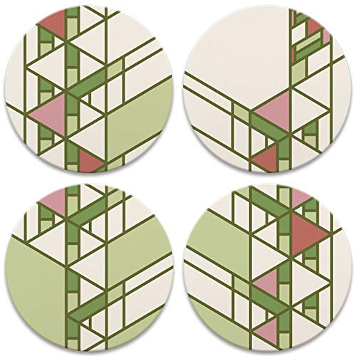 Hollyhock House Details Round Coasters, Set of 4