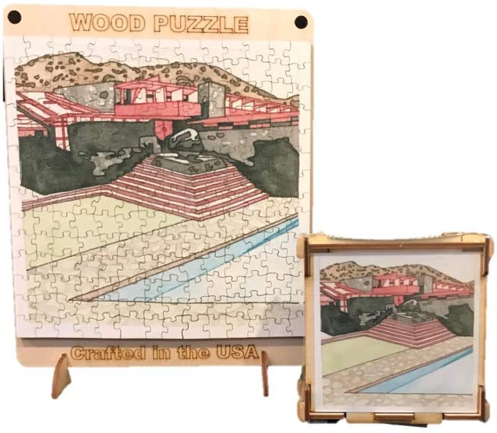 Taliesin West Wood Puzzle, completed puzzle shown with top of puzzle box.