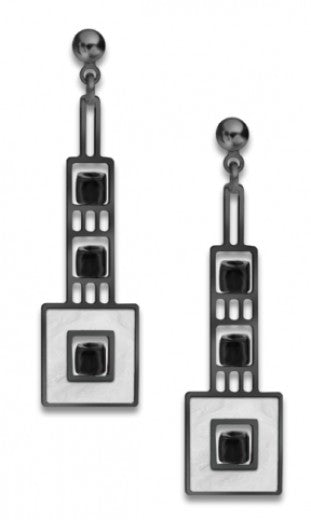 Elmslie Detail Earrings, chrome silver enamel accent with black beads