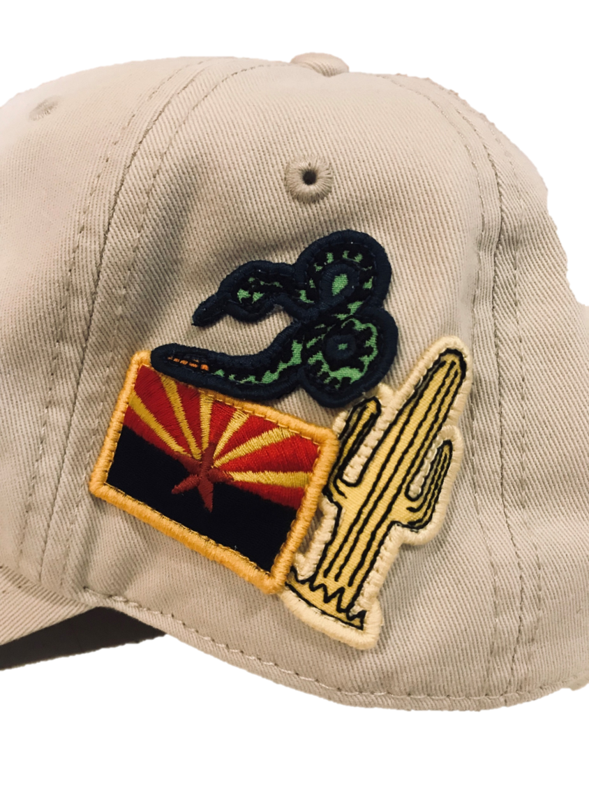 Close up of Arizona, Rattlesnake, and Saguaro patches on Taliesin West Foley Arizona Hat
