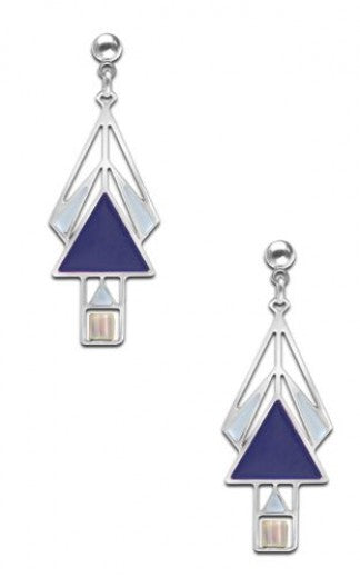 Mahony Window Earrings, navy and light blue enamel accents with clear beads