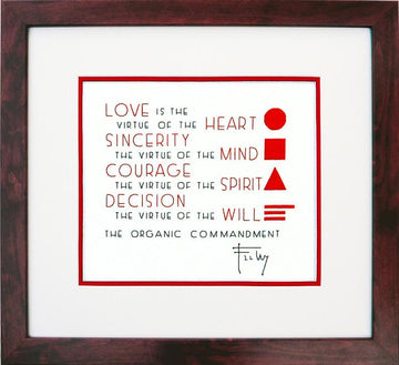 Sample of completed Organic Commandment Cross Stitch Kit.