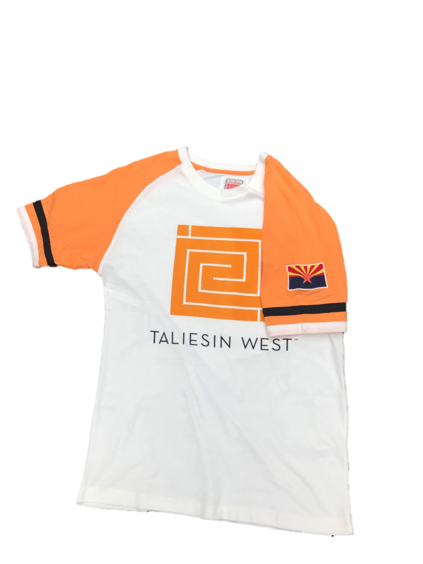 Taliesin West Short Sleeve Raglan Tee Shirt, front, with Arizona state flag patch on left sleeve