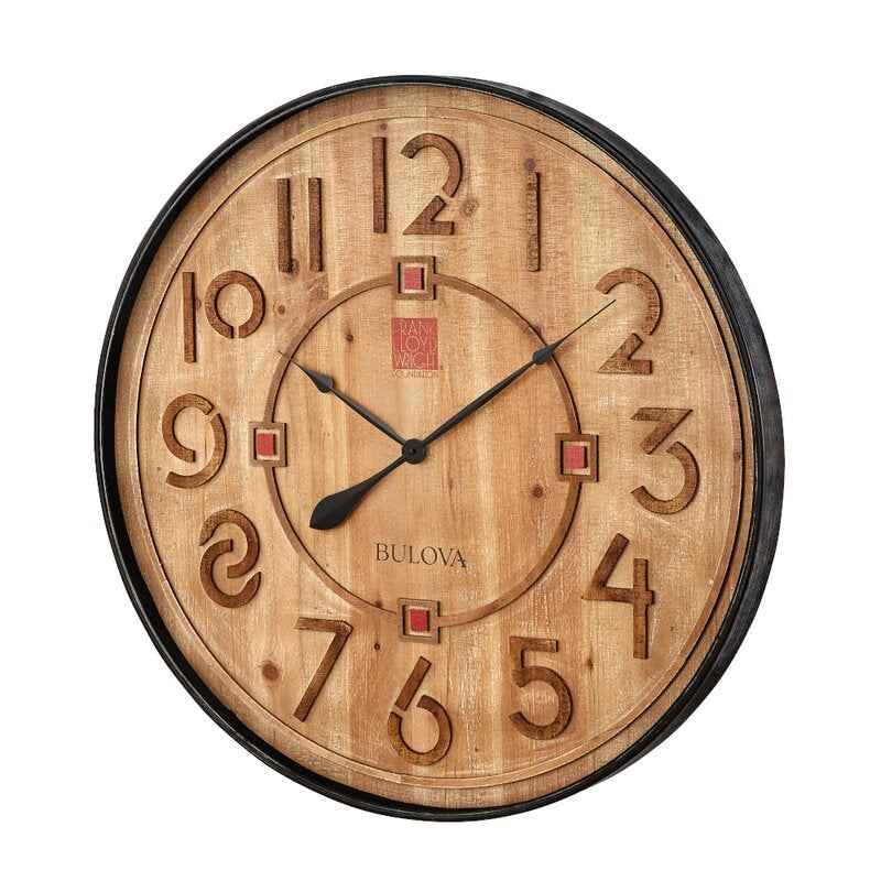 Taliesin Wooden Clock, oversized, face and edge.