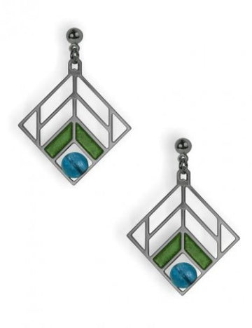 Walser Chevron Design  Earrings, green enamel with blue beads