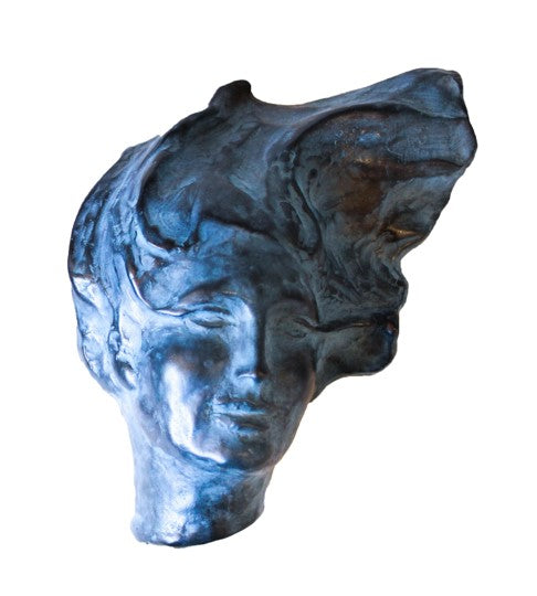 Woman Portrait Blue Shelf Sculpture by Heloise Crista.