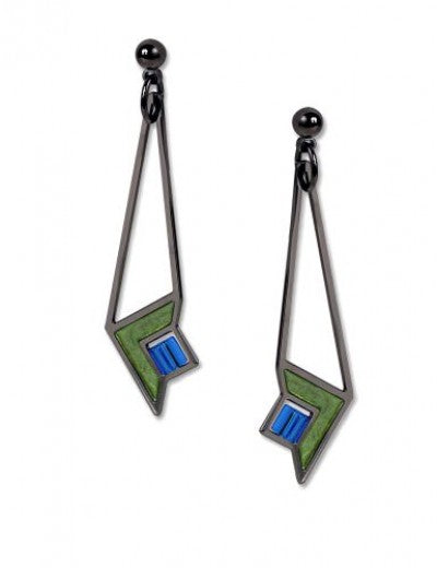 Dana Thomas Art Glass Earrings, green enamel accent with blue beads