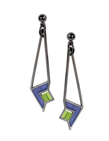 Dana Thomas Art Glass Earrings, blue enamel accent with green beads